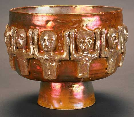 Gold Luster Bowl with 12 Gold Luster Figures