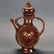 Copper Luster Teapot with Beads and Masks
