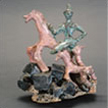 Pink Horse with Blue Rider on Rock