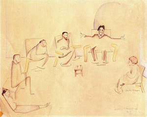 Evening at Arensbergs, 1932 - Beatrice Wood, Siqueiros, Scheyer