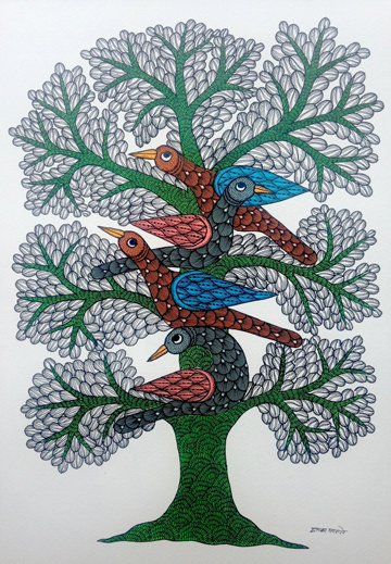 Dwarka Parste - Bird on Tree