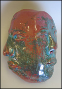 Copper and Green Lustre Faces